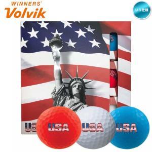 2018 ボルビック Volvik VIVID マットカラー ゴルフボール USAロゴ入り 3色×3個 (1箱/9球入り)「メール便不可」「あすつく対応」|fujico