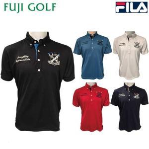 在庫限り特価品 FILA GOLF フィラ ゴルフ メンズ 半袖 ボタンダウン ポロシャツ 747-659 UVカット 吸汗速乾|fujigolf-kyoto
