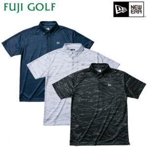 ゴルフ ポロシャツ 半袖 NEW ERA Golf ニューエラ ゴルフ ボタンダウンテックポロ タイガーストライプラインカモ メンズ 数量限定 2019年モデル|fujigolf-kyoto