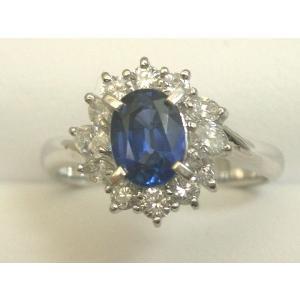 pt プラチナダイヤ入りサファイヤリング指輪100-4788|fujii-tokeiten