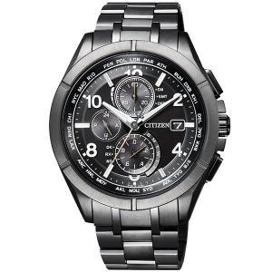 シチズン腕時計ソーラー電波時計アテッサブラックチタンシリーズダイレクトフライト針表示式AT8166-...