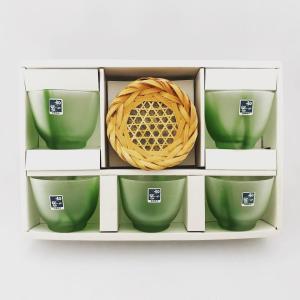 石塚硝子(国産) 和のうつわ 五条  グリーン冷茶 5客 サイズ:W7.8×H6.3 cm  新竹網...