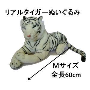 ぬいぐるみ ホワイトタイガー 60cm 中型 Mサイズ リアルタイガー トラ 白虎 藤昭