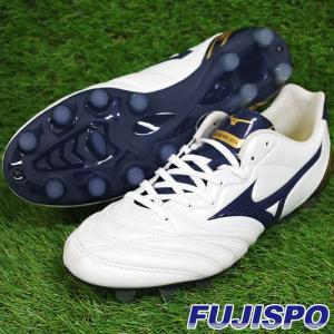 モナルシーダ 2 WIDE / MONARCIDA II(P1GA182914)ミズノ サッカースパイク ホワイト×ネイビー×ゴールド【ミズノ/Mizuno】|fujispo