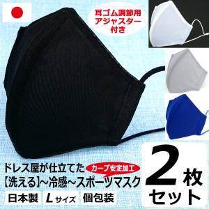 父の日 冷感  スポーツ アジャスター付き 息がしやすい 蒸れない マスク 日本製 洗える 在庫 あり 布マスク 大きめ 男性用 L サイズ アトリエフジタ|fujita2020
