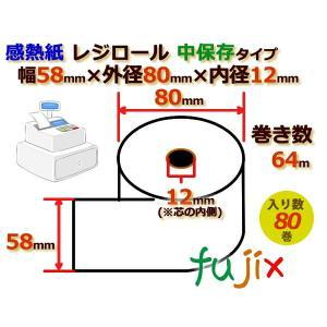 レジロール 感熱紙(中保存)幅58mm 外径80mm×内径12mm 80巻/ケース RH588012 fujix-sizai