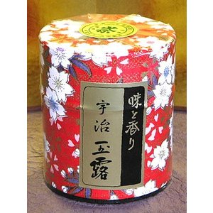 京都らしい京友禅柄の千代紙を用いた茶筒に宇治の玉露を詰めました。かわいらしく仕上がった、京都発の和紙...