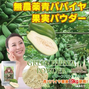 [無農薬青パパイヤ1.9kg 使用!] グリーンパパイヤパウダー/80g [パパイヤ果肉だけ使用](おトクな3ヶ月分セット・6ヶ月分セットも別途ご用意しております♪)|fukahiasia