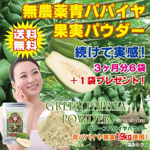 [無農薬青パパイヤ1.9kg 使用!] グリーンパパイヤパウダー80g [パパイヤ果肉だけ使用]/おトクな3ヶ月分セット!(6ヶ月分セットや1袋からも別途ご用意♪)|fukahiasia