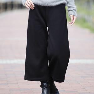 大人の裏起毛ガウチョパンツ ブラック LL fuki-fashion