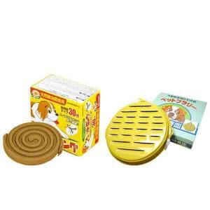 (同梱・代引不可)天然除虫菊 ペット用防虫線香セットB (ペットロング30巻 3個&大型ペット用ブラリー皿 1個)|fuki-fashion