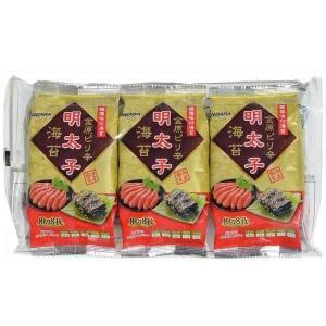 (同梱・代引不可)金原海苔店 韓国味付海苔 金原ピリ辛明太子海苔 (8切8枚×3P) 12個セット|fuki-fashion