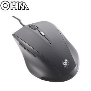 オーム電機 OHM 有線静音 BLUE LED 5ボタンマウス|fuki-fashion