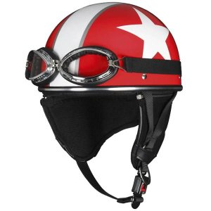 ユニカー工業 ビンテージスタイル ヘルメット ホワイトスター レッド BH-13R|fuki-fashion
