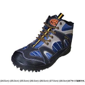 オカモト化成品 安全靴 ピンスパイクシューズ ブラックウルフ KMP-9609 ネイビー|fuki-fashion