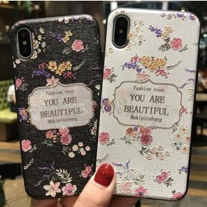 iPhoneケース アイフォン8ケース アイフォン8PLUS アイフォンX アイフォン7 アイフォン7PLUS かわいい おしゃれ ジャケット プリント 浮き彫り 花柄|fuki-fashion