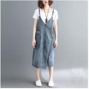 ジャンスカ ノースリーブ 無地 Vネックライン デニム ウォッシュ加工 アシンメトリー 肩紐調整可能 大きいポケット付き 可愛い 普段着 fuki-fashion