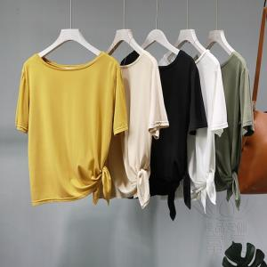 FLZ カットソー Tシャツ 半袖 無地 ラウンドネックライン 筒袖 プルオーバー リボン アシンメトリー シンプル カジュアル モダン おしゃれ|fuki-fashion