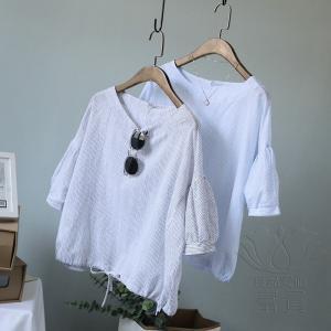 FLZ カットソー Tシャツ 半袖 プルオーバー ラウンドネックライン ストライプ パフスリーブ レースアップ キリカエ ゆるい 可愛い 通勤 モダン|fuki-fashion