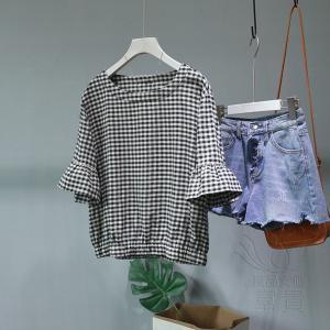 FLZ 布帛 ブラウス 半袖 プルオーバー ラウンドネックライン ギンガム フレアスリーブ キリカエ レトロ フェミニン 可愛い  通勤 おしゃれ|fuki-fashion