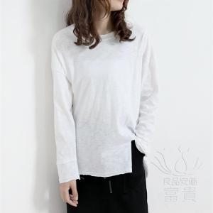 FLZ カットソー Tシャツ 長袖  プルオーバー ラウンドネックライン  無地 シンプル カジュアル スリット アシンメトリー ビッグシルエット|fuki-fashion