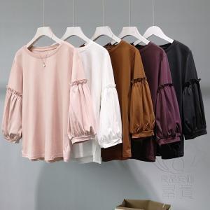 FLZ カットソー Tシャツ 七分袖  プルオーバー ラウンドネックライン  無地 パフスリーブ フリル キリカエ  ゆるい 可愛い フェミニン  学院風|fuki-fashion