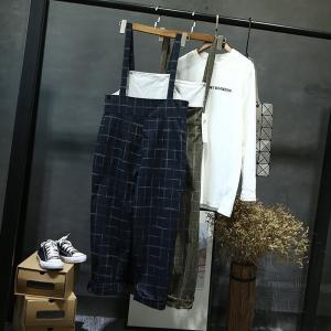 FLZ トラウザー サロペット チェック  ハイウエスト 九分丈 ストレート おしゃれ 春|fuki-fashion