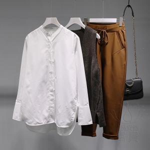 FLZ 布帛 シャツ 長袖 ノーカラーシャツ 詰襟 白色 シャツスリーブ スリット シングル ブレスト  ゆるい キリカエ マニッシュ 通勤 おしゃれ|fuki-fashion