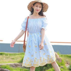 ブラウスワンピース 半袖 ストライプ オフショル パフスリーブ 刺繍 シャーリング スカラップ ハイウエスト フレア Aライン 可愛い 普段着|fuki-fashion