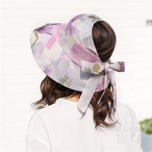 サンバイザー 帽子 女性 紫外線対策 天辺あき 花模様 リボン飾り 折畳める お洒落 つば広 通気性に富む 海、砂浜 あごひも付き 春夏秋 フェミニン|fuki-fashion