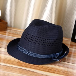 中折帽子 メンズ 春夏秋 紫外線対策 透かし メッシュ 網状 北欧風 レトロ 紳士 紐飾り 通気性抜群 ジャカード ボーダー シンプル マリン 海、砂浜|fuki-fashion