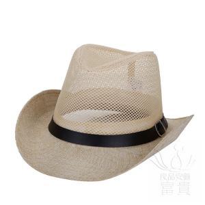 中折帽子 メンズ 春夏秋 UVカット 北欧風 通気性良い ベルト飾り ウエスタン テンガロンハット メッシュ 網状 つば広 クール 上品 カジュアル fuki-fashion