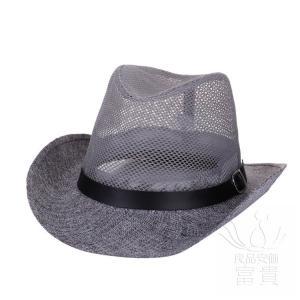 中折帽子 メンズ 春夏秋 北欧風 ウエスタン テンガロンハット メッシュ 網状 クール ベルト飾り リベット飾り つば広 上品 カジュアル fuki-fashion