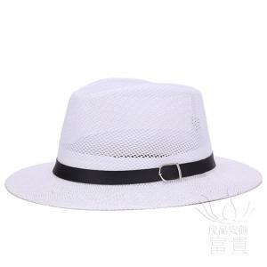 中折帽子 メンズ 春夏秋 UVカット メッシュ 網状 通気性良い ベルト飾り ストローハット つば広 イギリス風 紳士 レトロ 優雅 上品 カジュアル|fuki-fashion