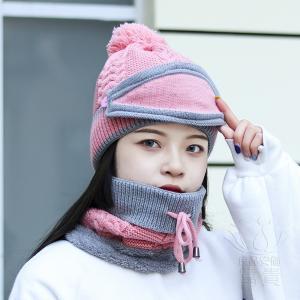 帽子女の秋の冬のシーズン百編み自転車防風の温かいスカーフとベルベットマスクウールハットセットレディ|fuki-fashion