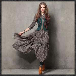 ワンピース フォークロア レトロ ワンピース プルオーバー 非対称裙 ロング丈 セットインスリーブ 五分丈 スタンダードカラー プリント 非対称 fuki-fashion