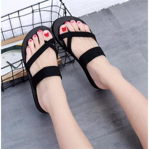 サンダル サムループ・サンダル ビーチサンダル 靴 フラット 軽い 水陸両用 滑り止め ウェッジサンダル 通気性 痛くない 黒 シンプル|fuki-fashion