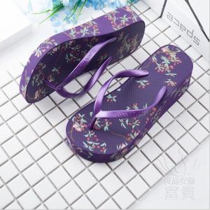 サンダル トング・サンダル ビーチサンダル 靴 厚底 花柄 可愛い 履きやすい 歩きやすい ビーサン  滑り止め 新作 紫 痛くない 履き心地|fuki-fashion