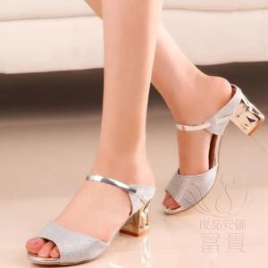 サンダル ヘップ・サンダル ミュール 靴 ミディアムヒール 太ヒール オシャレ 履きやすい 軽い 歩きやすい キラキラ オフィス 滑り止め 履き心地  痛くない|fuki-fashion