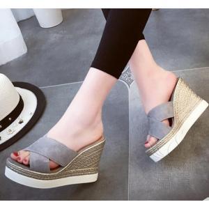 サンダル ウェッジ ミュール 靴 厚底 ハイヒール 履きやすい 滑り止め 痛くない アウトドア ビーサン  オフィス 疲れない 通気性 歩きやすい 旅行|fuki-fashion