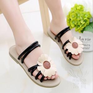 サンダル ミュール フラット 靴 ぺたんこ 花飾り 履きやすい 子ども 靴 軽い ビーサン  ローヒール 履き心地  レジャー用 痛くない  歩きやすい 滑り止め|fuki-fashion
