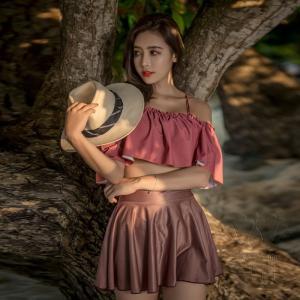 レディース水着 ビキニ3点セット セパレート キャミソール 無地 オフショルダー フォークロア フリル フレア スカート 可愛い 少女 学生 キュート 上品 温泉|fuki-fashion