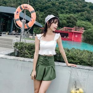 レディース水着 ビキニ2点セット セパレート キャミソール フリル フレア フリンジ リボン 無地 クロスデザイン スカート ハイウエスト 可愛い 少女 学生|fuki-fashion