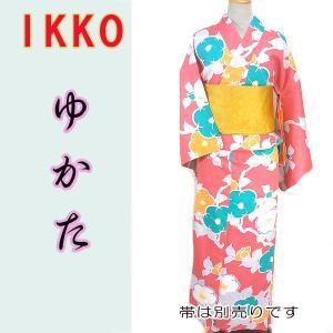 女物夏ゆかたayw17-2b 大人レディース 単品 ブランド浴衣 IKKO 椿カラフル ピンク水色 fukuda-shokado