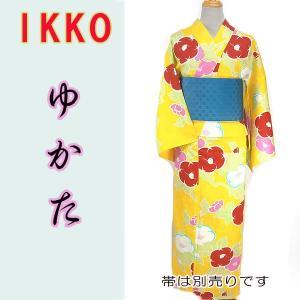 女物夏ゆかたayw17-2c 大人レディース 単品 ブランド浴衣 IKKO 椿カラフル 黄色ピンク fukuda-shokado