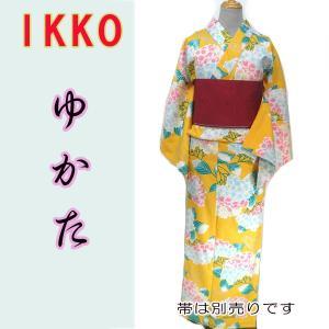 女物夏ゆかたayw17-3a 大人レディース 単品 ブランド浴衣 IKKO 紫陽花 黄色|fukuda-shokado