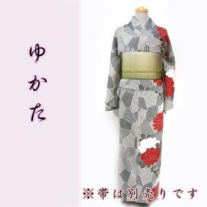 女物夏ゆかたayw18-4c  Lサイズ 半身柄浴衣 モデルサイズ 牡丹 黒系 赤牡丹|fukuda-shokado