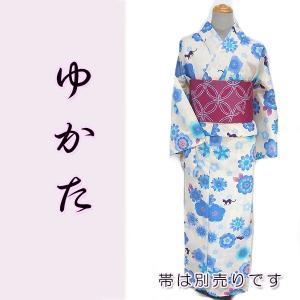 女物浴衣  kjyw17-1 夏 ゆかた 大人レディース 単品 白地 ブルー花 猫|fukuda-shokado