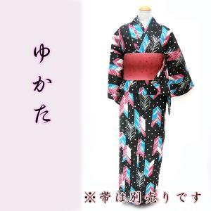女物夏浴衣 kjyw18-12 大人レディース 単品 黒 水玉 矢羽根 浴衣 夏祭り 花火|fukuda-shokado