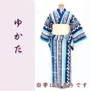 女物夏浴衣 kjyw18-13 大人レディース 単品 縦縞 丸 ドット 水玉 水色 浴衣 夏祭り 花火|fukuda-shokado